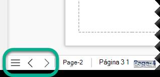Existem três botões de navegação na extremidade esquerda da barra de separador de página, abaixo da tela de desenho.