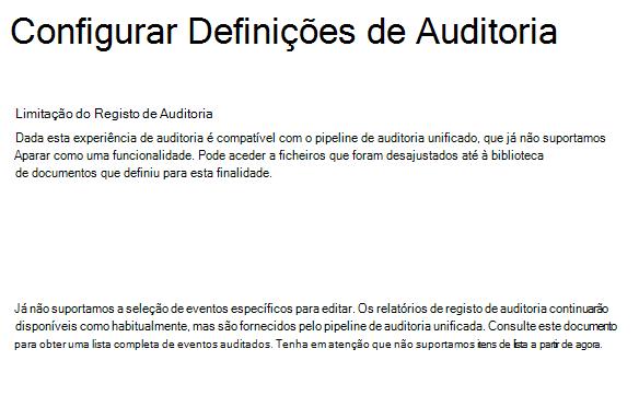 Definições de Auditoria do SPO