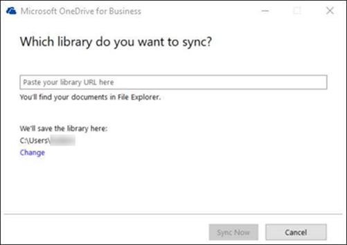 OneDrive para empresas - selecionar biblioteca sincronizados