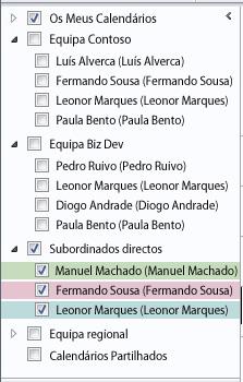Grupos de Calendários no Painel de Navegação