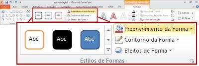 o separador formatar no friso do powerpoint 2010.