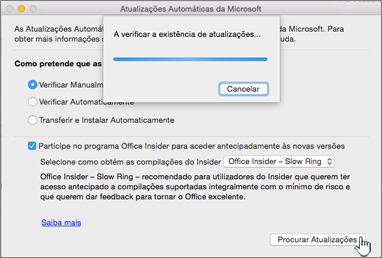 Verificar Atualizações para o Insider Slow no Mac