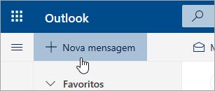 Uma captura de ecrã do botão Nova mensagem