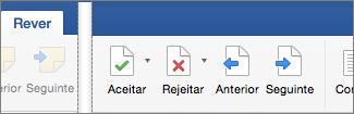 No separador Rever, são apresentadas as opções Aceitar, Rejeitar, Anterior e Alteração Seguinte