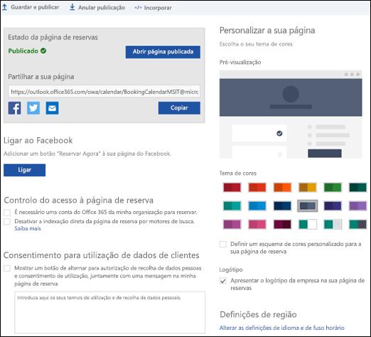 """Página de reserva com uma nova secção chamada """"Personalize a sua página""""."""
