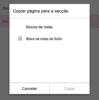 No menu de copiar página no OneNote para Android