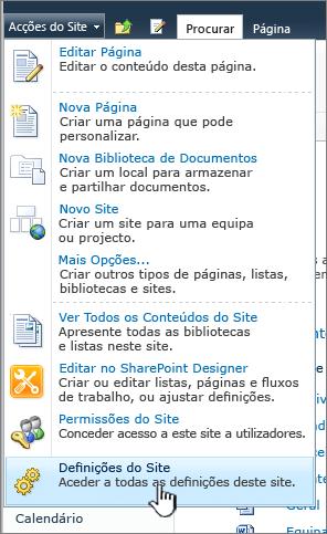 Definições do site no menu ações do site