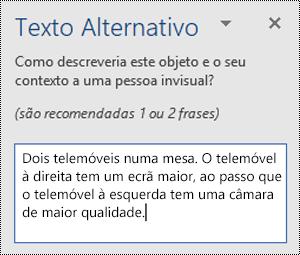 Painel de texto alt com um exemplo de texto alt no Word for Windows.