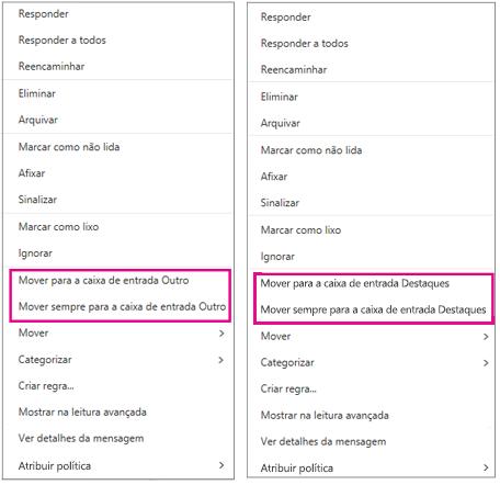 Opções Mover para Destaques e Mover para Outro no Outlook na Web