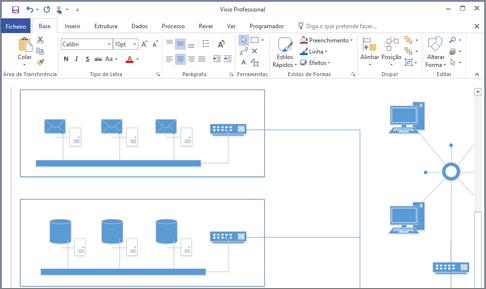 Captura de ecrã de um diagrama criado no Visio 2016.