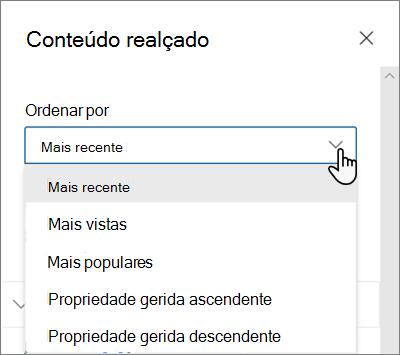As opções Ordenar Por para a peça Web Conteúdo Realçado na experiência moderna do SharePoint