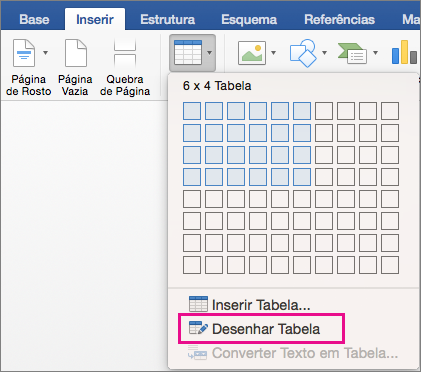 Draw Table is highlighted for creating a custom table
