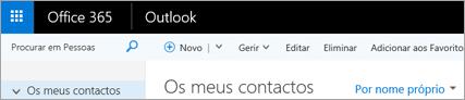 Este é o aspeto do friso no Outlook na Web.