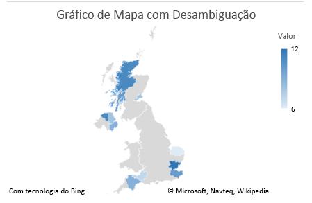Gráfico de dados que não são ambíguos do Gráfico de Mapa do Excel