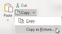 Para copiar um intervalo de células, um gráfico ou um objeto, aceda a base > copiar > copiar como imagem.
