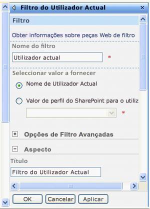 Painel de ferramentas da Peça Web Filtro do Utilizador Actual.