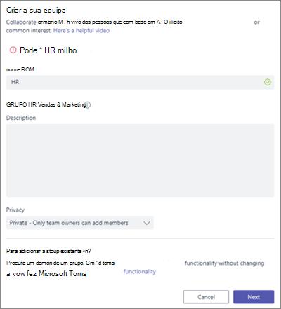Captura de ecrã: Política de grupo nomenclatura no exemplo Teams bloqueados da Microsoft