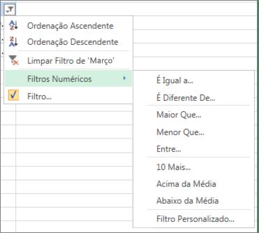 opções de filtragem personalizada disponíveis para valores numéricos.