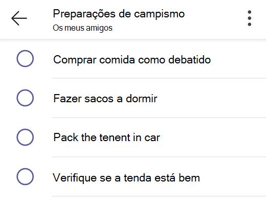 Lista de tarefas partilhadas no Teams para uso pessoal.