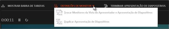 Definições de Monitor na Vista do Apresentador