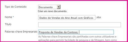 Os utilizadores podem adicionar palavras-chave na caixa de diálogo das propriedades do documento