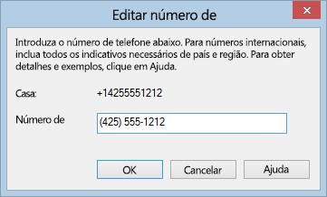 Exemplo de número de telefone do Lync com o formato de marcação internacional
