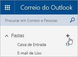 Uma captura de ecrã do botão Criar nova pasta no Outlook.com.