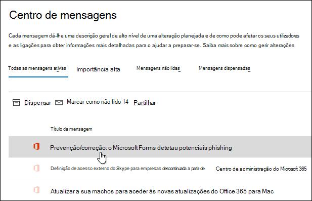 Mensagem no centro de administração do Microsoft 365 acerca da detecção de phishing do Microsoft Forms