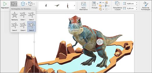 Modelo 3D a apresentar opções de animação