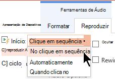 Existem três opções de início no separador reprodução de áudio no PowerPoint 2016