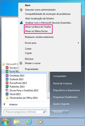 Afixe a aplicação do Office na barra de ferramentas ou ao menu Iniciar no Windows 7