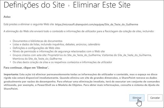 Eliminar o ecrã de aviso e confirmação do site