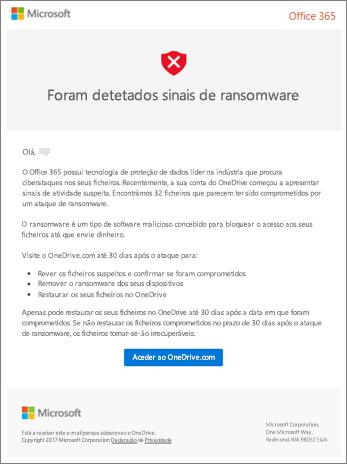 Captura de tela do e-mail de detecção de ransomware da Microsoft