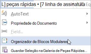Selecionar o organizador de blocos modulares no menu peças rápidas