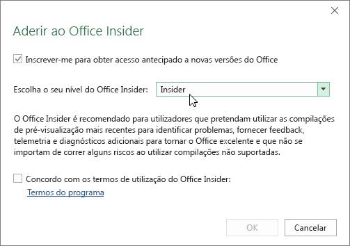 Caixa de diálogo Aderir ao Office Insider com a opção de nível Insider