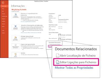 Editar ligações para ficheiros