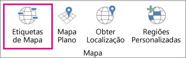 Opção Etiquetas de Mapa da funcionalidade Mapas 3D