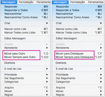 As duas opções no menu Mover para Destaques são Mover para Destaques e Mover Sempre para Destaques