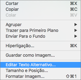 Opção Editar Texto Alternativo no menu de contexto do PowerPoint para Mac
