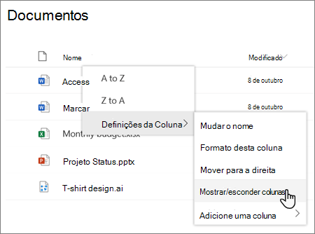 As definições da Coluna > opção de colunas Mostrar/ocultar quando um título de coluna é selecionado numa lista ou biblioteca do SharePoint moderno