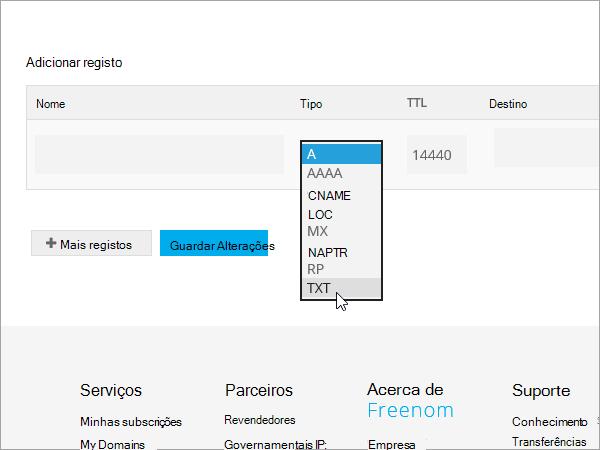Tipo de registo de adicionar Freenom TXT_C3_2017530132929