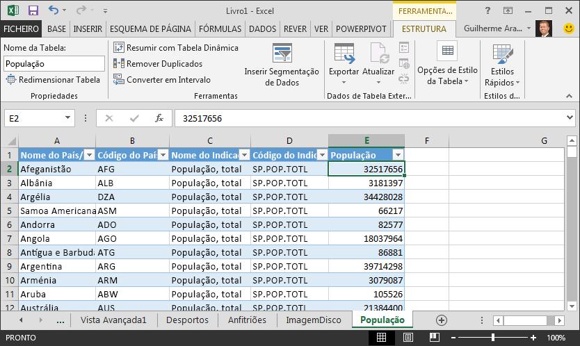 Dados de população importados para o Excel