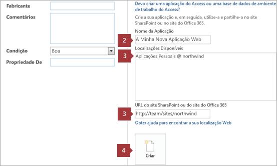 Novo ecrã de criação de aplicações Web do Access