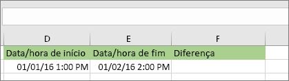 Data de início de 1/1/16 1:00 PM; Data de fim de 1/2/16 14:00