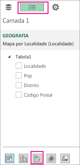 Ícone de bolha no separador Lista de Campos
