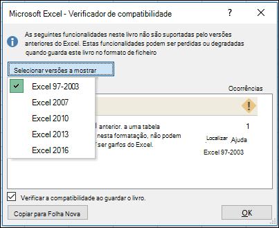 Caixa de diálogo Verificador de compatibilidade do Excel