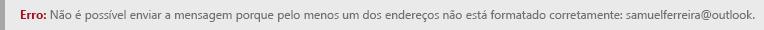 Captura de ecrã de um um erro de formatação de endereço no Outlook.com.