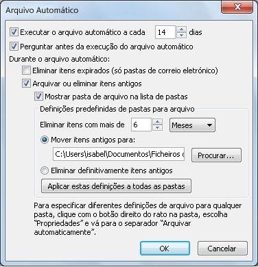 Caixa de diálogo Definições de Arquivo Automático
