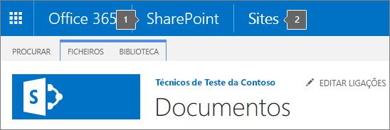 SharePoint 2016 canto superior esquerdo do ecrã que mostra o iniciador de aplicações e título