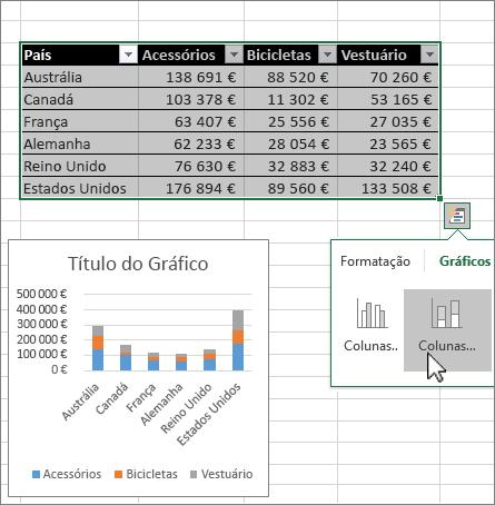 Criar gráficos com a funcionalidade Análise Rápida